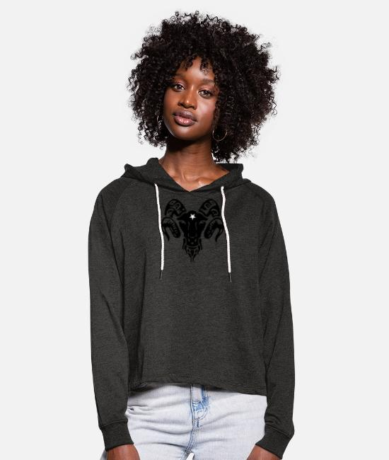 Gothic Hoodies & Sweatshirts - Aries, devil, satan, devil, gothic, goth, wicca, - Women's Cropped Hoodie charcoal grey