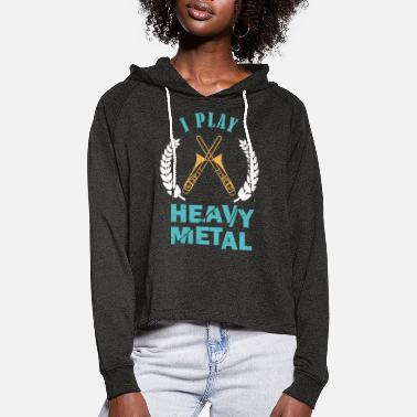 I play heavy metal - trombone - Women's Cropped Hoodie