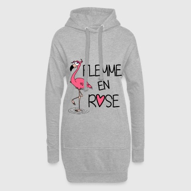Flamant Rose / Flemme en Rose - Sweat-shirt à capuche long Femme