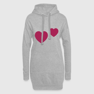 Double Heart - Customizable - Hoodie Dress