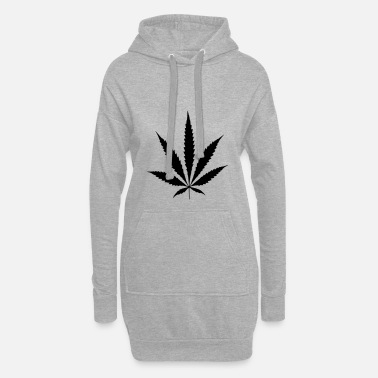Feuille De Cannabis Sac de cannabis chanvre feuille de chanvre - Sweat-shirt à capuche long Femme