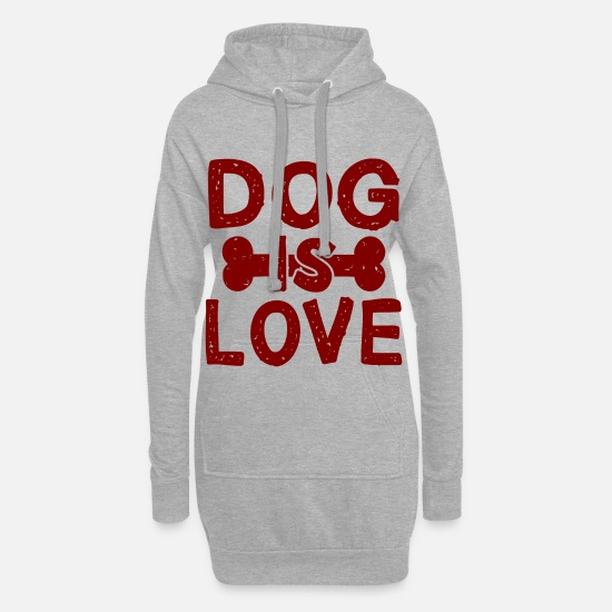 Love Hoodies & Sweatshirts - Dog is Love Dog Talk Shirt Gift - Women's Hoodie Dress heather grey
