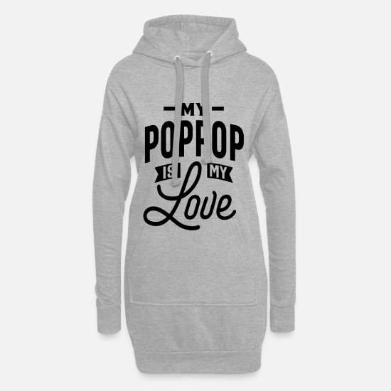 Poppy Sweat-shirts - Mon Pop Pop est mon amour - Robe sweat Femme gris chiné