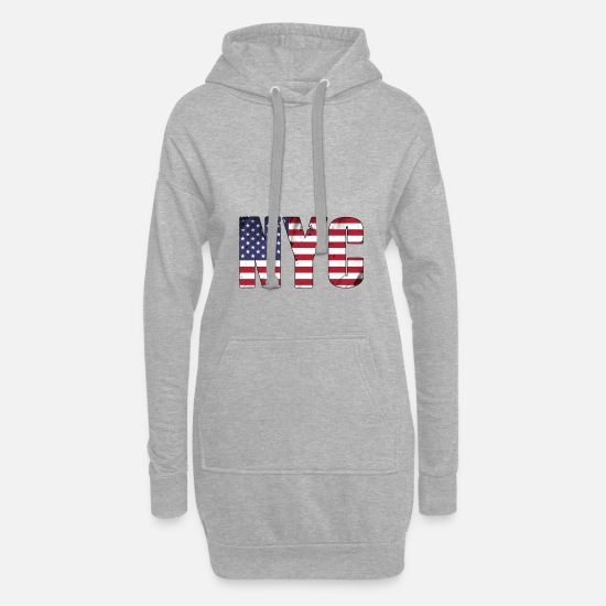 New York Pullover & Hoodies - NYC - Frauen Hoodiekleid Grau meliert