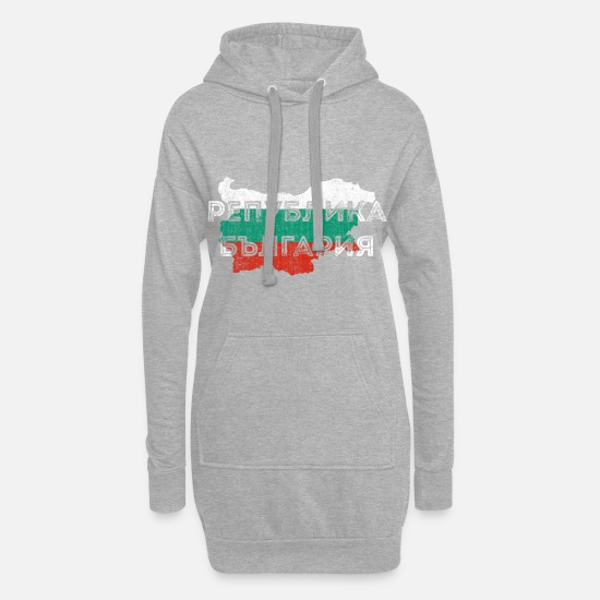 Patriot Hoodies & Sweatshirts - Bulgaria Map Shape and Flag - Women's Hoodie Dress heather grey