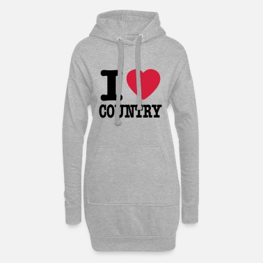 Country i love country / i heart country - Hoodie klänning dam