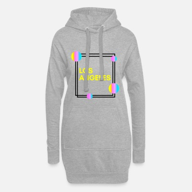 Rectangle Los Angeles - USA - Aesthetics - Retro Geometric - Women's Hoodie Dress