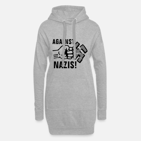 Break Hoodies & Sweatshirts - gegen_nazis_012011_g_3c - Women's Hoodie Dress heather grey