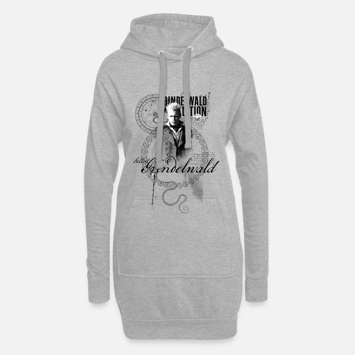 ed2704fb2 Animaux fantastiques Grindelwald Dessin Sweat-shirt à capuche long Femme -  gris chiné