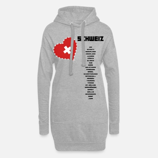 Love Hoodies & Sweatshirts - Switzerland cantons black - Women's Hoodie Dress heather grey