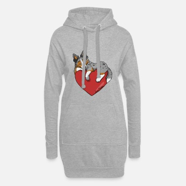 Collie Border Collie Blue Merle Tricolor Heart - Women's Hoodie Dress