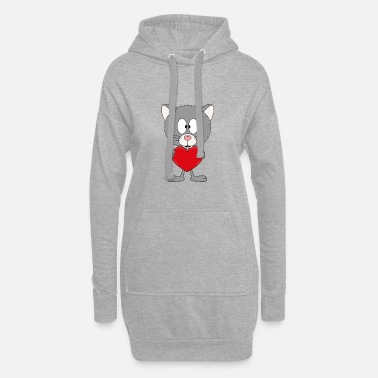 Chic Chat drôle - coeur - amour - amour - animal - amusant - Robe sweat Femme