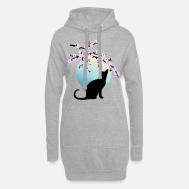Cherry Cherry Blossoms SAKURA Full Moon Cat 1 - Women's Hoodie Dress