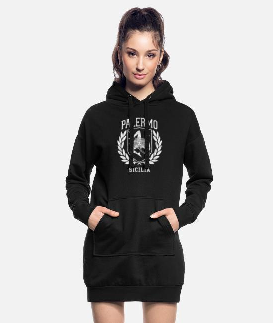 Proud Hoodies & Sweatshirts - Sicilia Flag and Shield with Trinacria - Palermo - Women's Hoodie Dress black