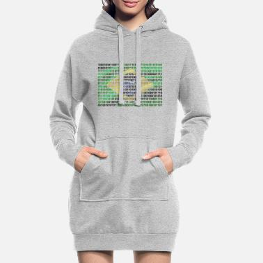 Sau Paulo Brazil Flag Binary Code Bit Sequence Bit Byte Binary - Women's Hoodie Dress