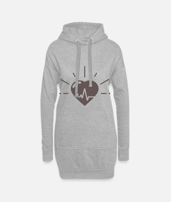 Heart Hoodies & Sweatshirts - Heartbeat for heartbeat - Women's Hoodie Dress heather grey