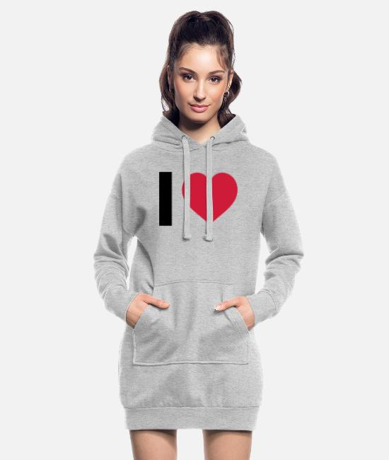 I Love Sweat-shirts - I LOVE - Robe sweat Femme gris chiné