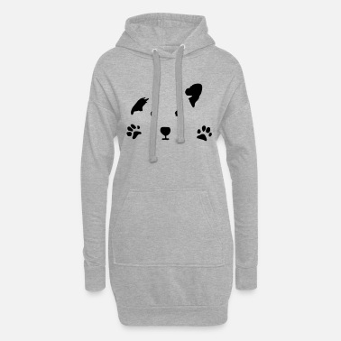 Paw dog, puppy, dog face - Women's Hoodie Dress