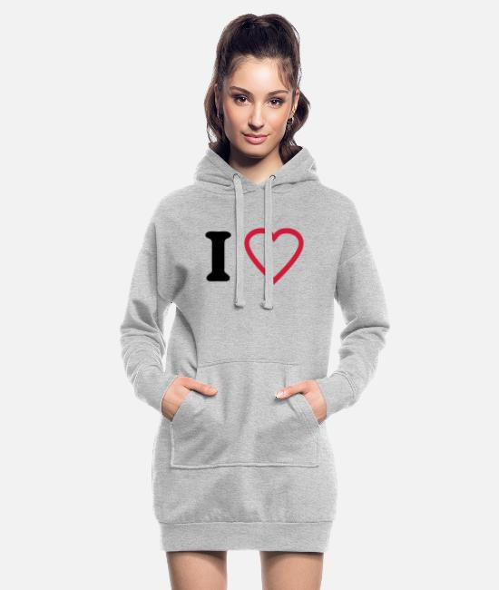 Amor Sweat-shirts - i love - Robe sweat Femme gris chiné