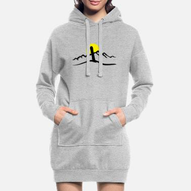 Snowboard Snowboard, Mountains and Sun - Women's Hoodie Dress