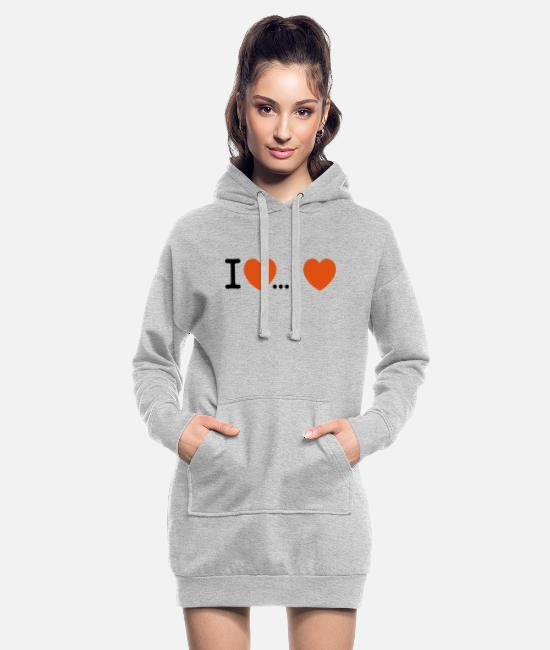 Heart Hoodies & Sweatshirts - I Love... Love - Women's Hoodie Dress heather grey