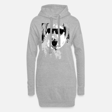 Fur Nose Dog, cute dog with sunglasses fur nose - Women's Hoodie Dress