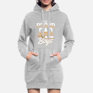 Proud Proud Dad of Two Awesome Boys Shirt Father's Day - Women's Hoodie Dress