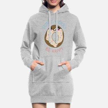 Anniversary Inspirational Funny Pun Donut Worry Be Happy - Women's Hoodie Dress