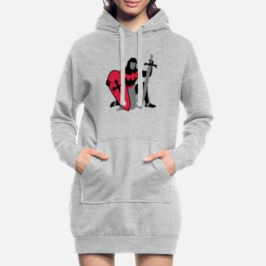 Fantasy Underwear knight kneeling medieval patjila - Women's Hoodie Dress
