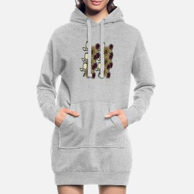 Brilliant Brown flowers - Women's Hoodie Dress