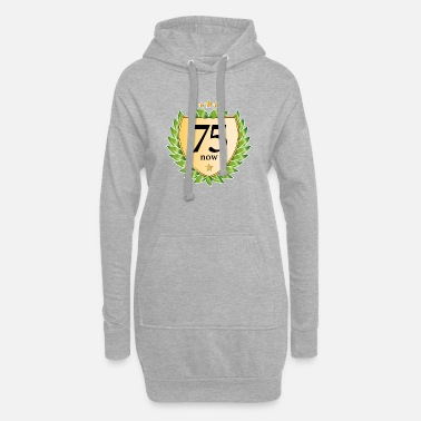 75th birthday crest laurel wreath golden stars - Women's Hoodie Dress