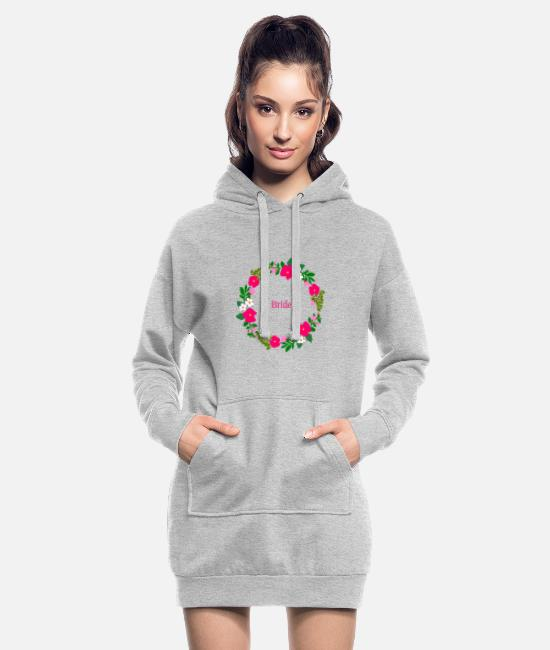 Hen Hoodies & Sweatshirts - Flower wreath bride - Women's Hoodie Dress heather grey