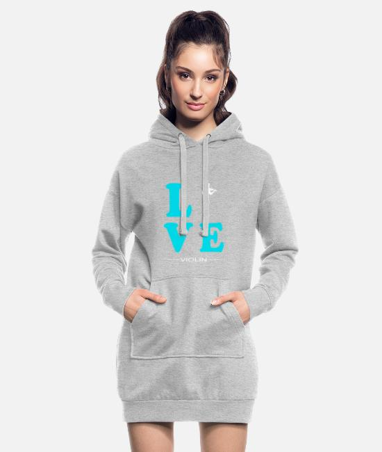 Hobby Cook Hoodies & Sweatshirts - VIOLIN LOVE - Women's Hoodie Dress heather grey