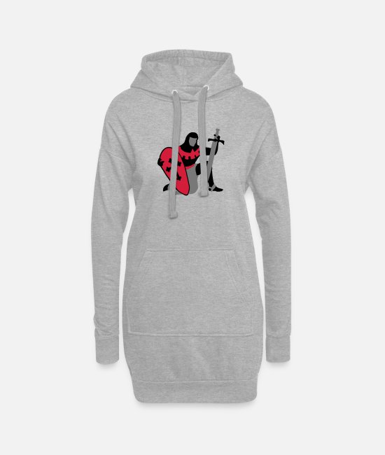 Templar Hoodies & Sweatshirts - knight kneeling medieval patjila - Women's Hoodie Dress heather grey