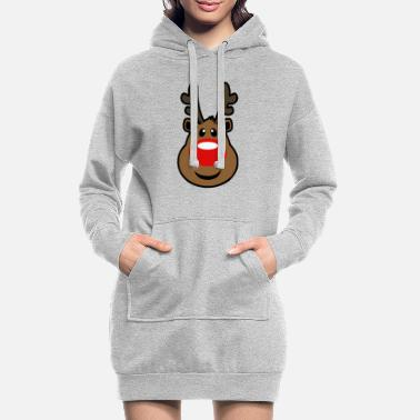 Rudolph, the red nosed Reindeer Christmas design - Women's Hoodie Dress