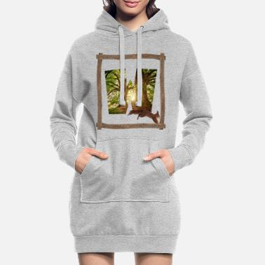 Viking forest with squirrel w - Women's Hoodie Dress