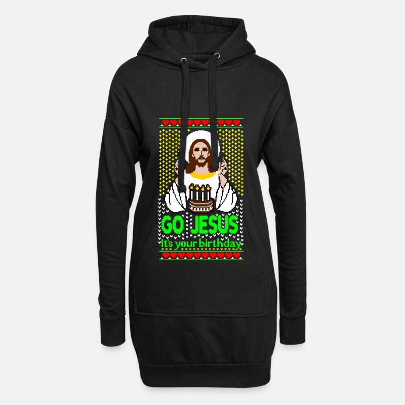 Humor Sweaters - Go Jesus its your Birthday Ugly Christmas Sweater - Vrouwen Hoodiejurk zwart