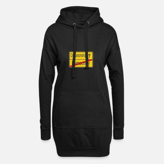 We Are The 99 Percent Hoodies & Sweatshirts - Leaving Democracy entering Dictatorship - Women's Hoodie Dress black