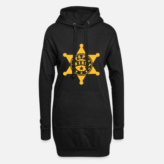 Grandad Hoodies & Sweatshirts - Grandad sheriff star 1 - Women's Hoodie Dress black