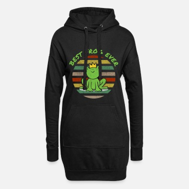Tale Comic frog funny funny joke green crown king - Women's Hoodie Dress
