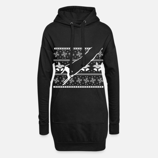 Snowman Hoodies & Sweatshirts - Ugly Christmas skiing - Women's Hoodie Dress black