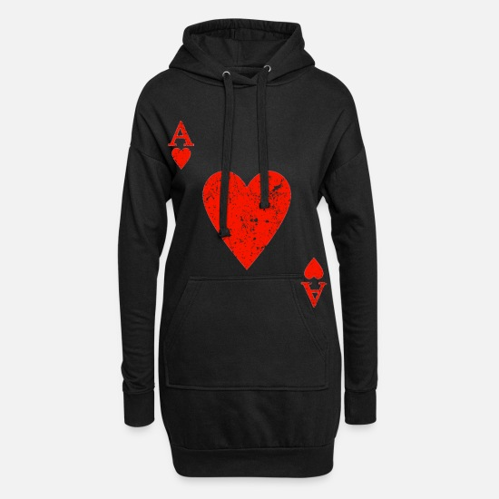 Ass Hoodies & Sweatshirts - Ace heart red playing card costume funny card game - Women's Hoodie Dress black