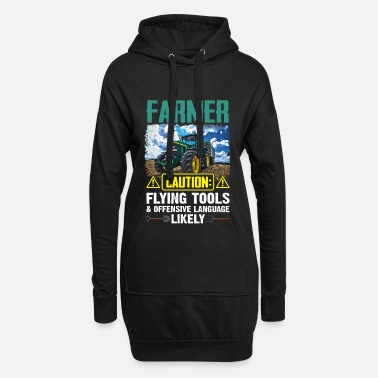 Farmer Caution Flying Farmer Caution Flying Tools _ Offensive Language - Women's Hoodie Dress