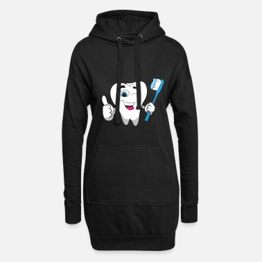 Parents Dentist - Radiant tooth with a blue toothbrush - Women's Hoodie Dress