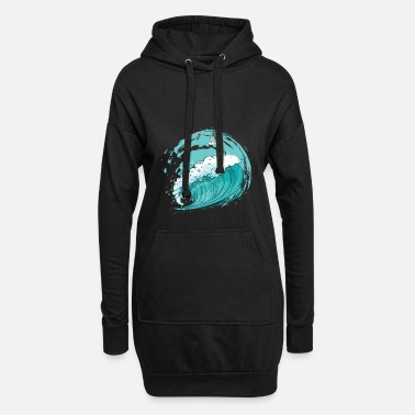 Parents Ocean - big wave with gulls - Women's Hoodie Dress