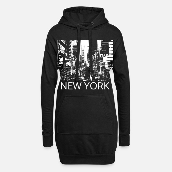 New York Hoodies & Sweatshirts - New York Times Square Metropolis Gift Manhattan - Women's Hoodie Dress black