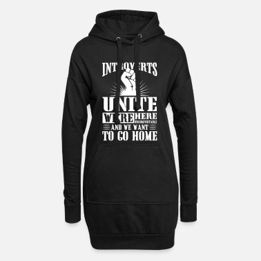Meme Introverts unite we're here uncomfortable - Women's Hoodie Dress