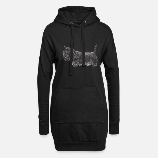 Terrier Pullover & Hoodies - Scottish Terrier Ub - Frauen Hoodiekleid Schwarz