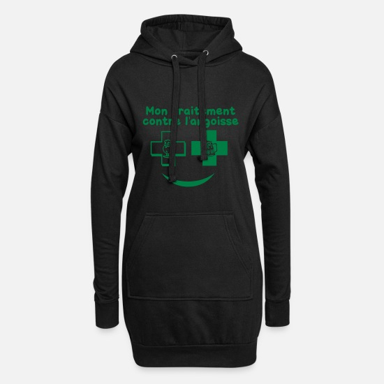 Treatment Hoodies & Sweatshirts - anxiety treatment verre1 alcohol beer - Women's Hoodie Dress black