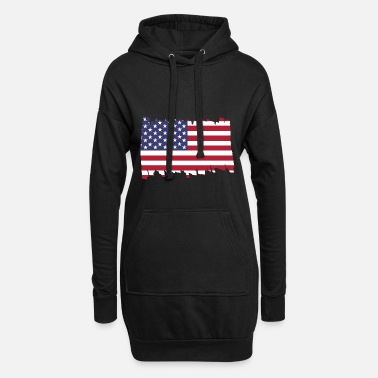 Patriot United States of America National Flag - brush dia - Frauen Hoodiekleid